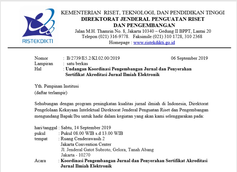 Gambar 15 Jurnal Ilmiah UIN Alauddin Mendapat Sertifikat Akreditasi Kemenristekdikti