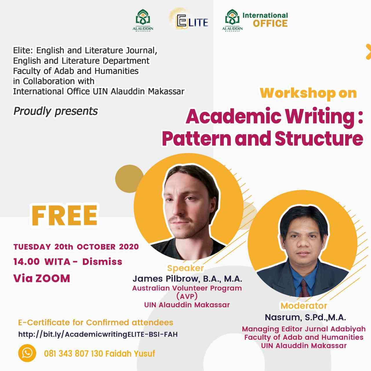 ELITE JOURNAL Kolaborasi Internasional Office UIN Alauddin Gelar Workshop Karya Tulis Ilmiah