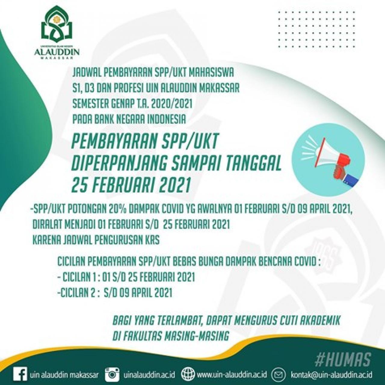 Pembayaran UKT UIN Alauddin Semester Genap TA 2020/2021 Diperpanjang