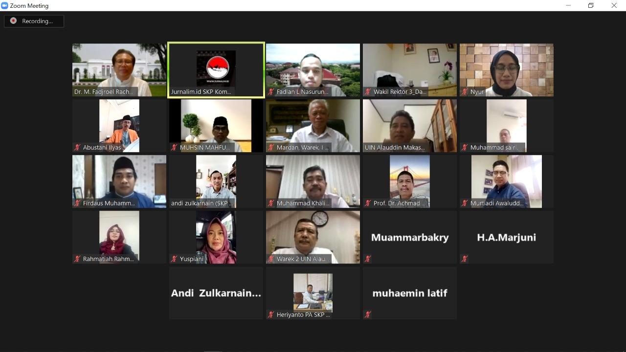 Gambar Pimpinan UIN Alauddin dan Juru Bicara Presiden Jokowi Gelar Silaturahim Virtual
