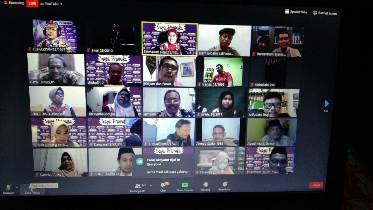 Pramuka UIN Alauddin Makassar sukses menggelar Temu Kangen Virtual