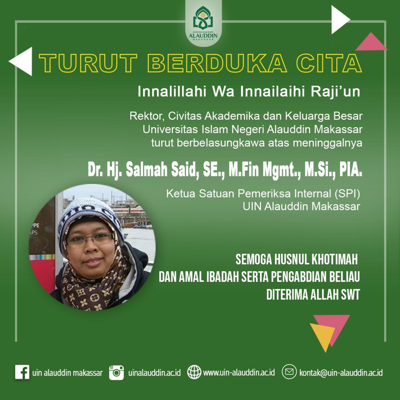 UIN Alauddin Makassar Berduka, Ketua SPI Salmah Said Tutup Usia